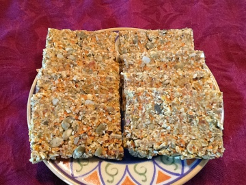 carrot, pumpkin and walnut crackers