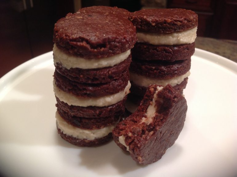 chocolate cookies with coconut cashew cream filling